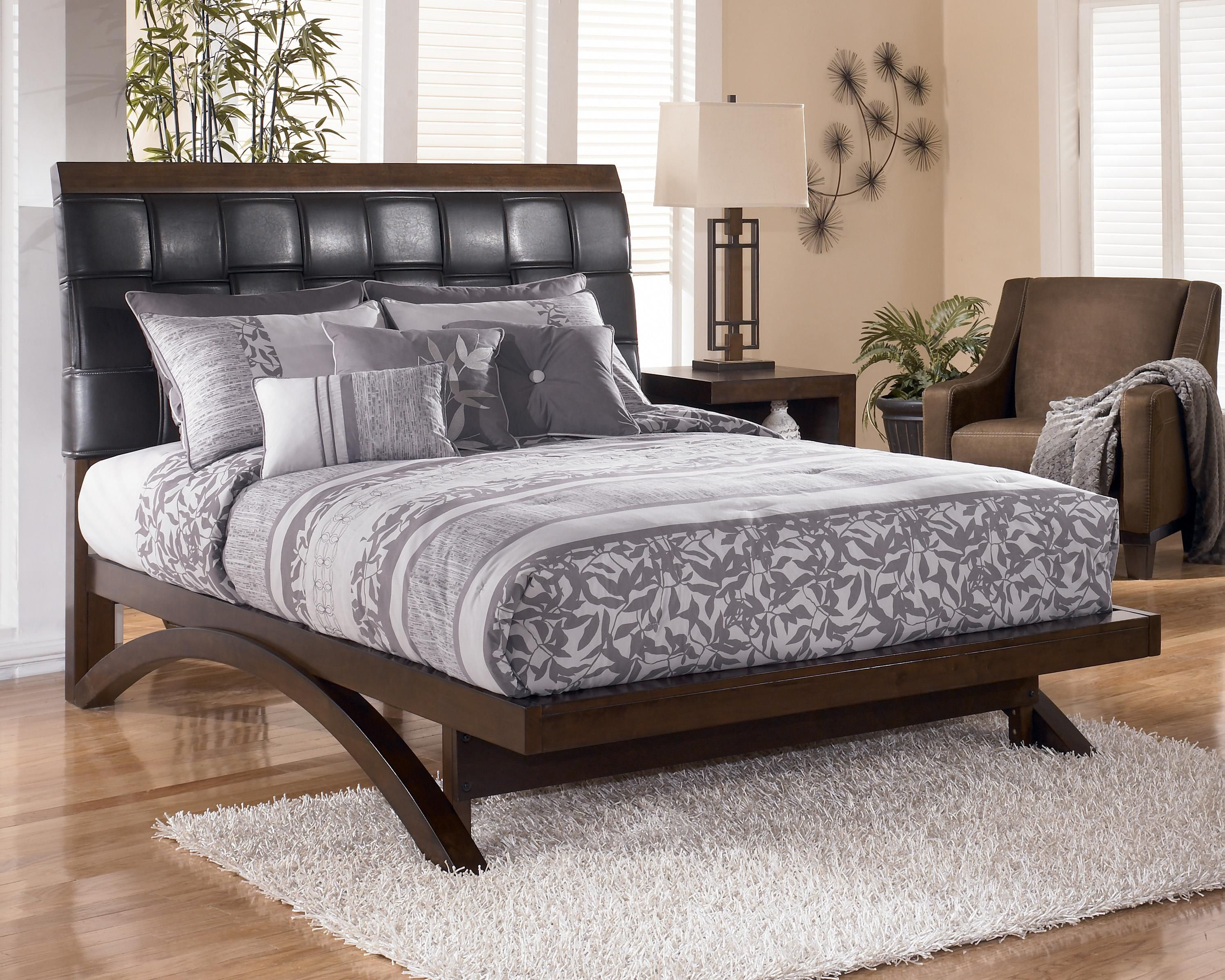 minburn queen upholstered sleigh platform bed by signature design by ashley - Ashley Furniture Beds