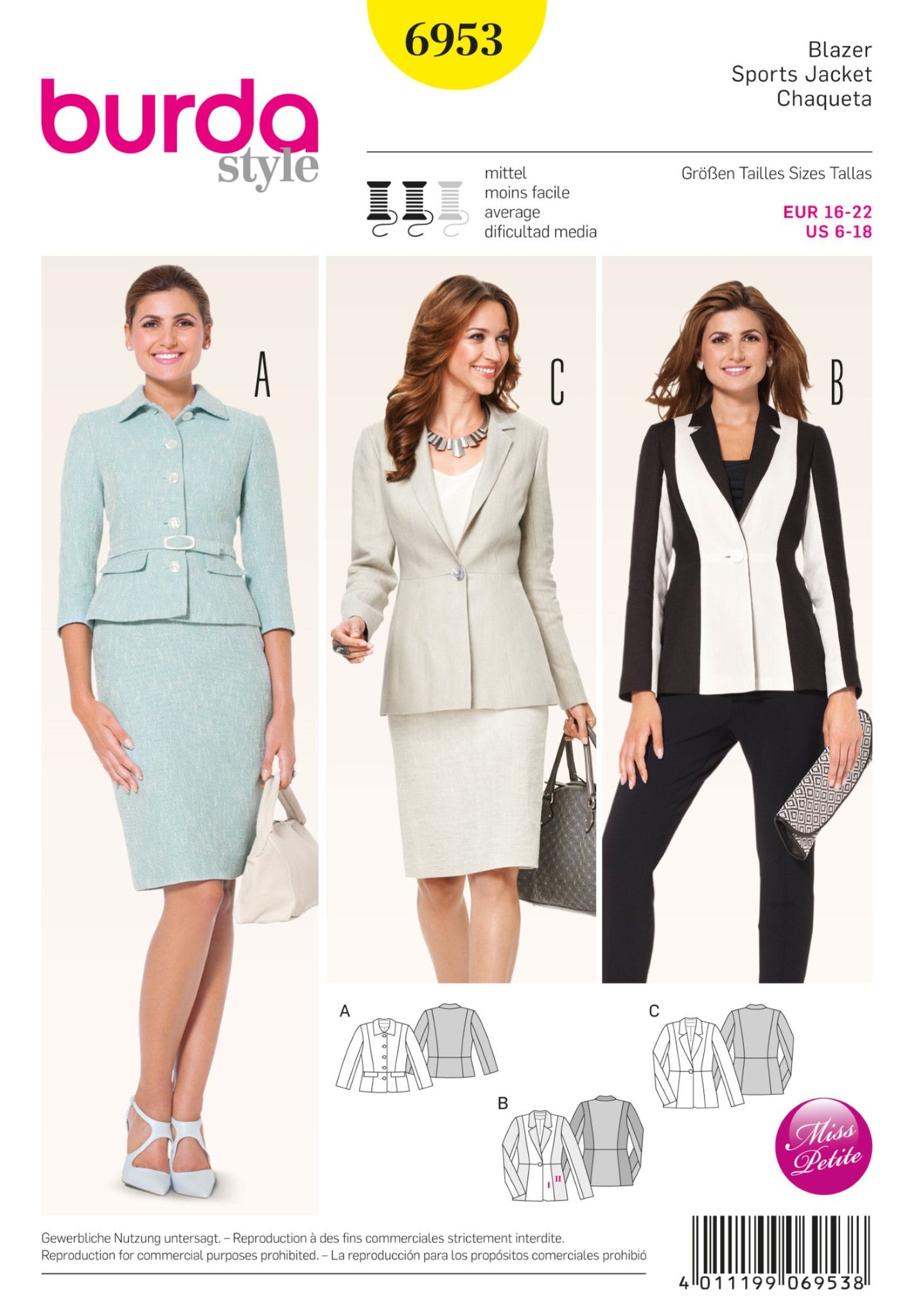Burda Sewing Pattern: 6953 Petite Blazer | Average — jaycotts.co.uk ...