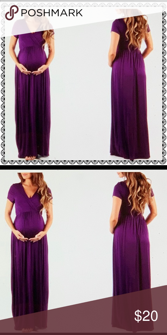 fa4b3863b6adc Brand New Mother Bee 🐝 Maternity Dress 👗 Short Sleeve Faux Wrap Maxi Dress  with Belt Rayon & Spandex Material Color Eggplant Size Large (12-14) ...