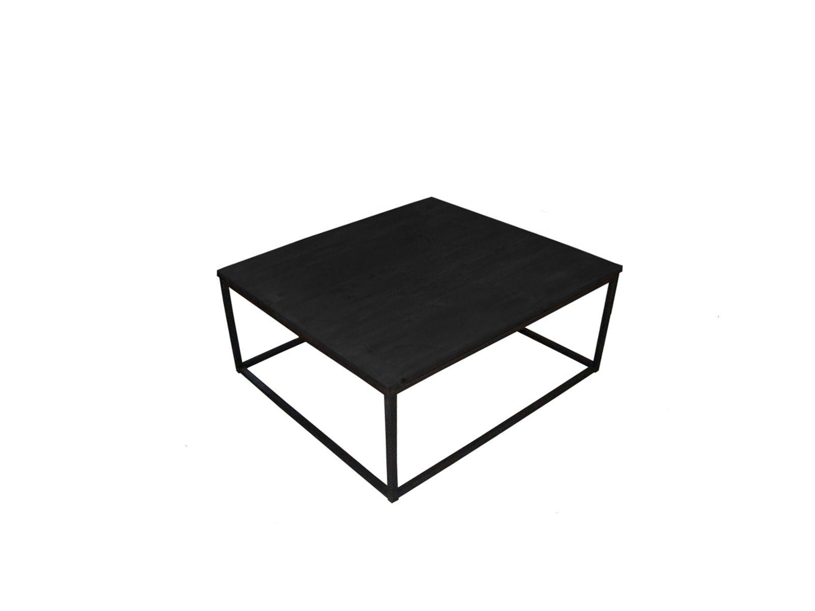 Table basse acier et bois teint noir industrielle loft for Table industrielle loft