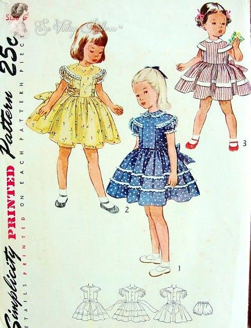 1950 Sweet Girls Dress and Panties Pattern Very Pretty Puff Sleeved ...