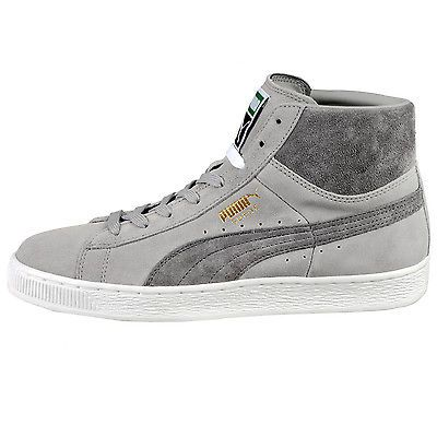 Puma Suede Mid Classic+ Mens 356340-16 Steel Grey White Shoes Sneakers Size  9