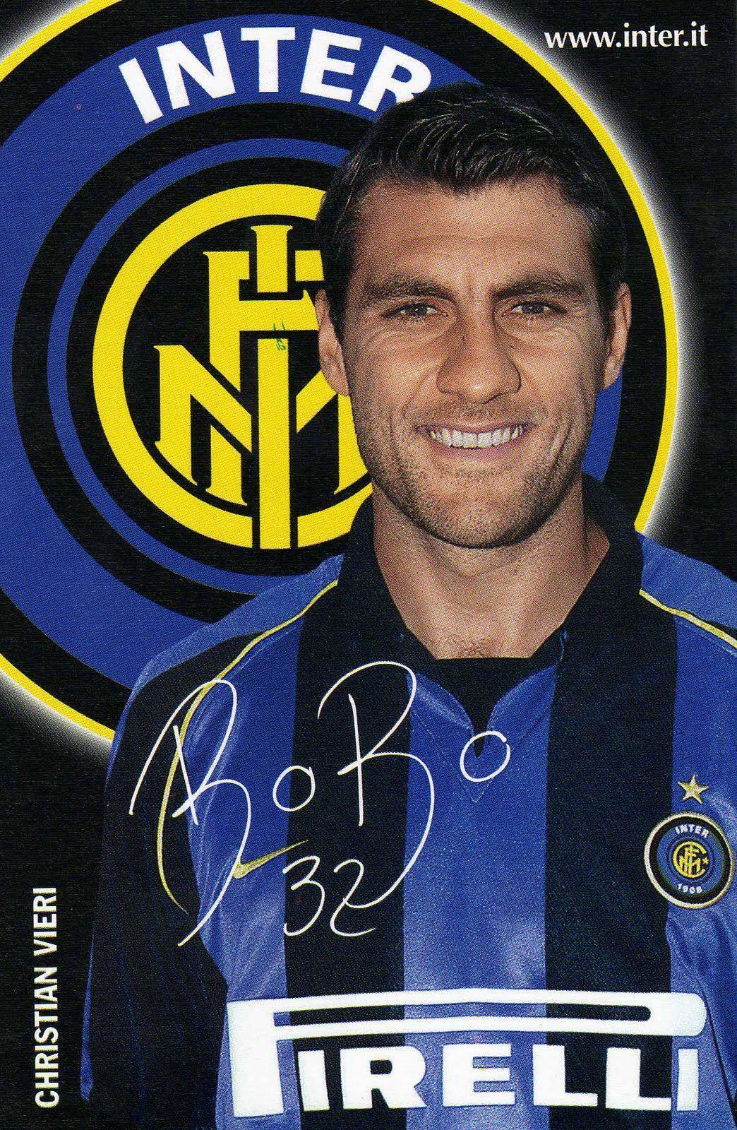 """Christian """"Bobo"""" VIERI; Torino,1991-92,  Pisa 92-92, Ravenna 93-94, Venezia 94-95, Atalanta 95-96, Juventus 96-97, Atletico Madrid SPA 97-98, Lazio 98-99, INTER 99-2005, AC Milan 2005-06, Monaco FRA 2006, Sampdoria 2006, Atalanta 06-07,  Fiorentina 07-08, Atalanta 08-09"""