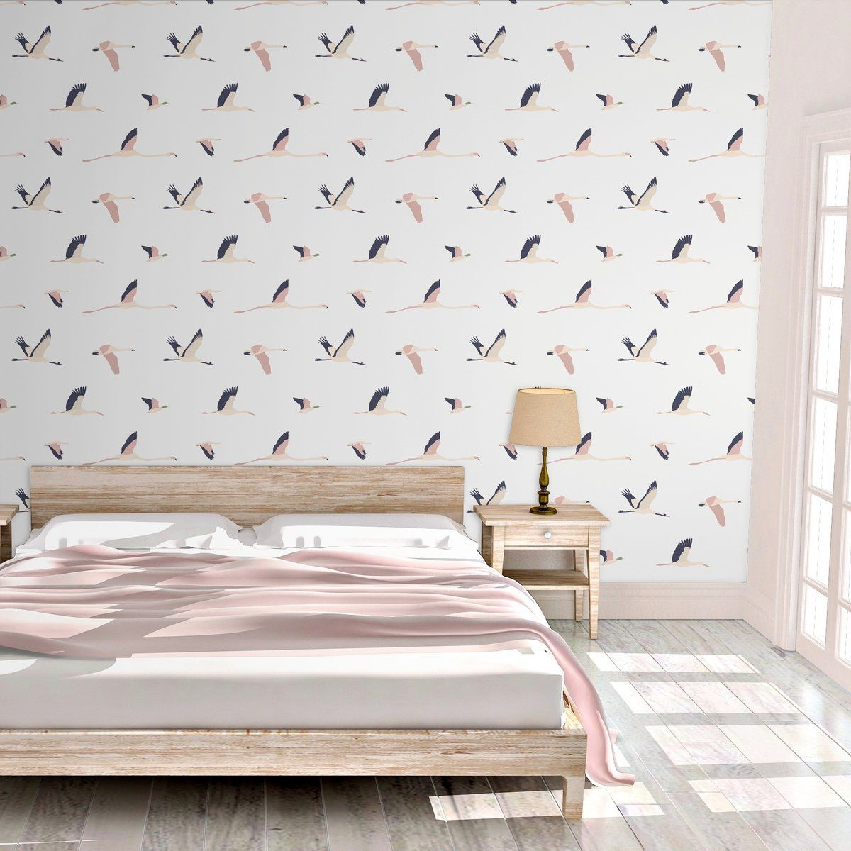 Crane Migration Peel And Stick Wallpaper Wood Feature Wall Apartment Makeover