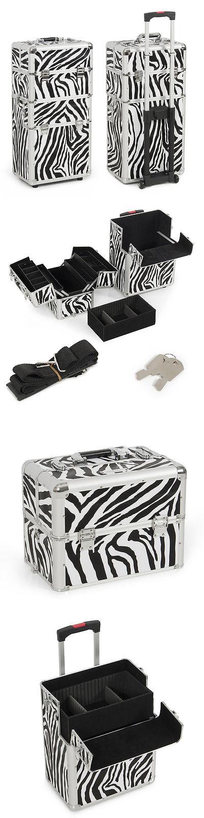 Rolling Makeup Cases In Aluminum Zebra Pro Rolling Makeup - Aluminum trolley case pro rolling makeup cosmetic organizer