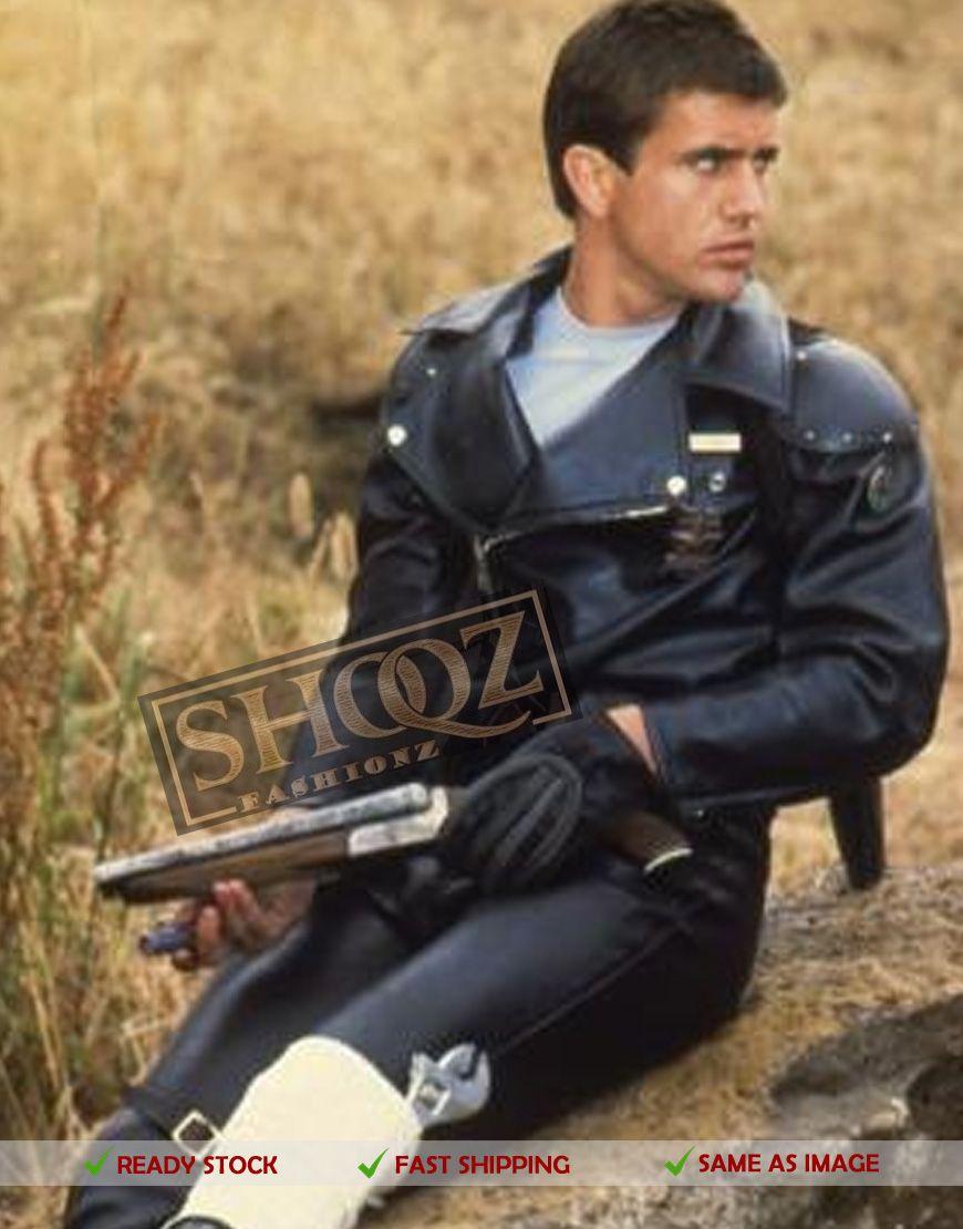 Mad Max Mel Gibson Rockatansky Black Biker Jacket Mad Max Costume Leather Jacket Style Leather [ 1110 x 870 Pixel ]