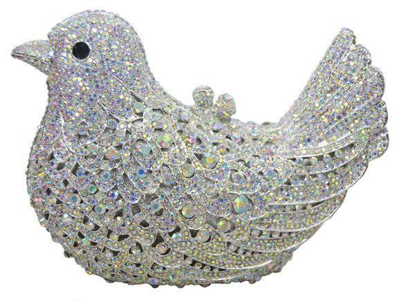 popular luxury evening bags Sparkly Crystal women Clutch Colorful Bird pattern dinner Clutches purse SC035