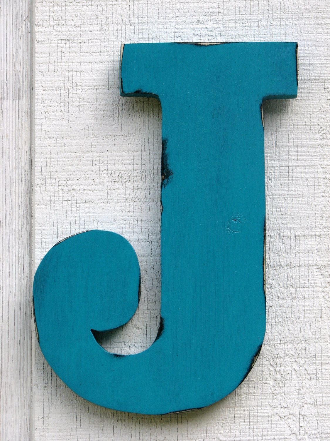 Rustic Wooden Letter J Distressed Painted Island Green,12