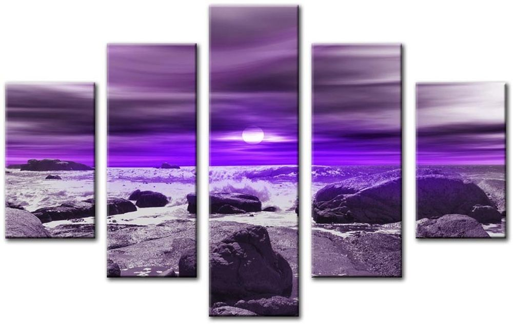 Exceptional MODERN LARGE 32 X 45 INCH CANVAS WALL ART ABSTRACT PURPLE SEASCAPE PRINT 5  PANEL