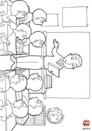 Coloriage la ma tre et les enfants dans la classe dans la classe la rentr e le ma tre - Dessin classe ...