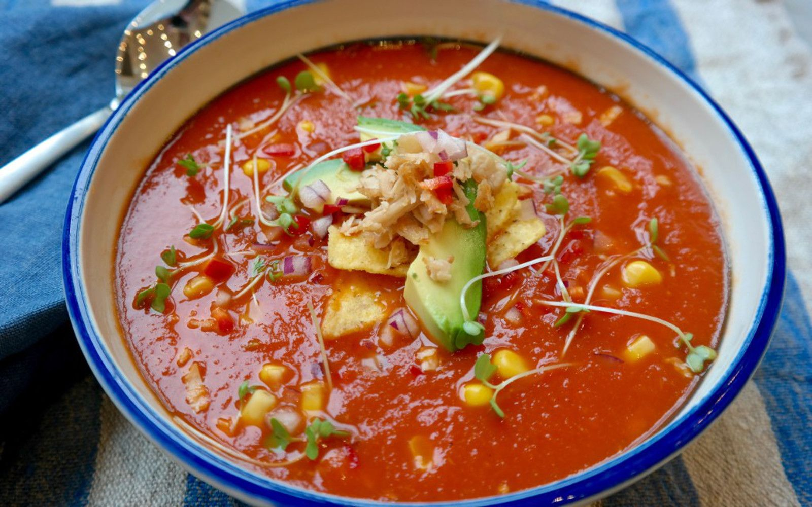 Healthy tortilla soup vegan one green green