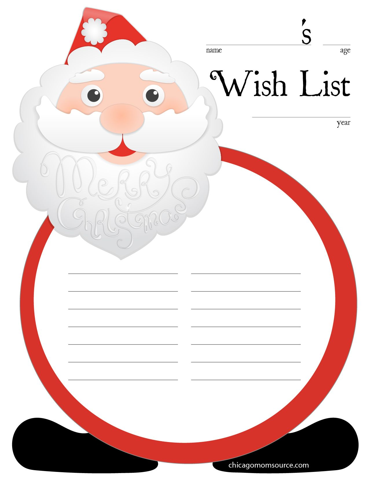 Santa Wish Lists Printable Santa Christmas Wish List