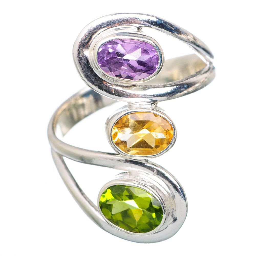 Amethyst, Citrine, Peridot 925 Sterling Silver Ring Size 7.75 RING701590