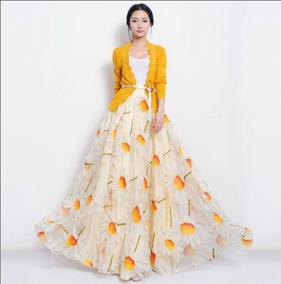 SALE Sunflower Organza Floral Full Pleated Skirt Long Maxi A-line ...