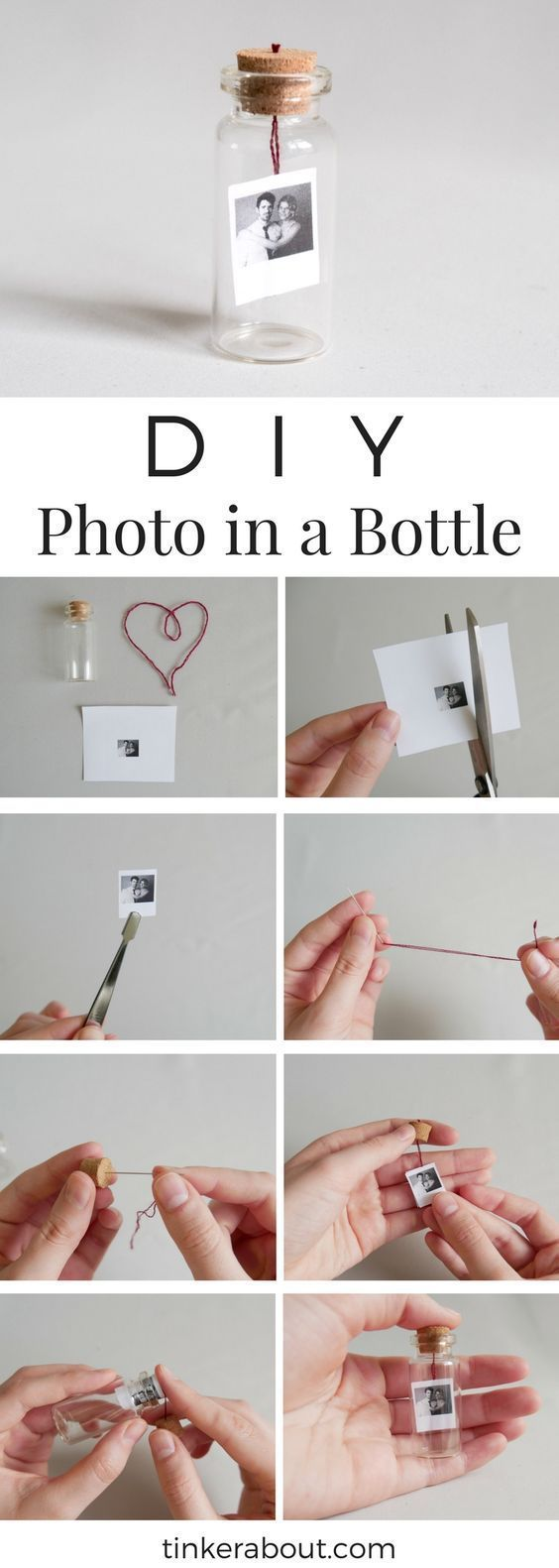 DIY Tiny PhotoMessage in a Bottle as an Anniversary Gift Idea  DIY Tiny PhotoMessage in a Bottle as Valentines Day Gift Idea