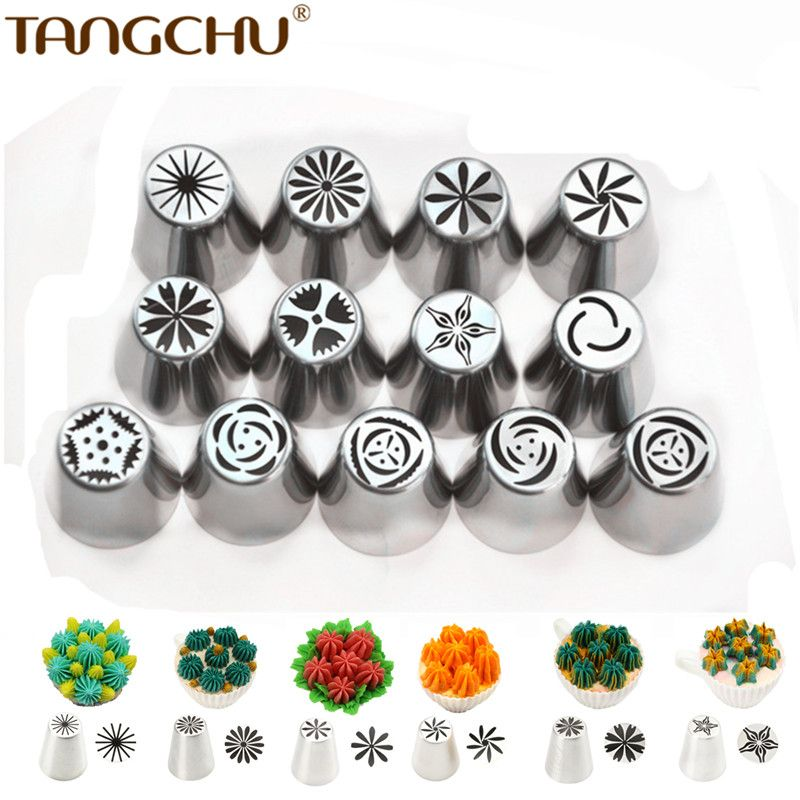 13pcs/set Russian Stainless Steel Icing Piping Nozzles Pastry Tips ...