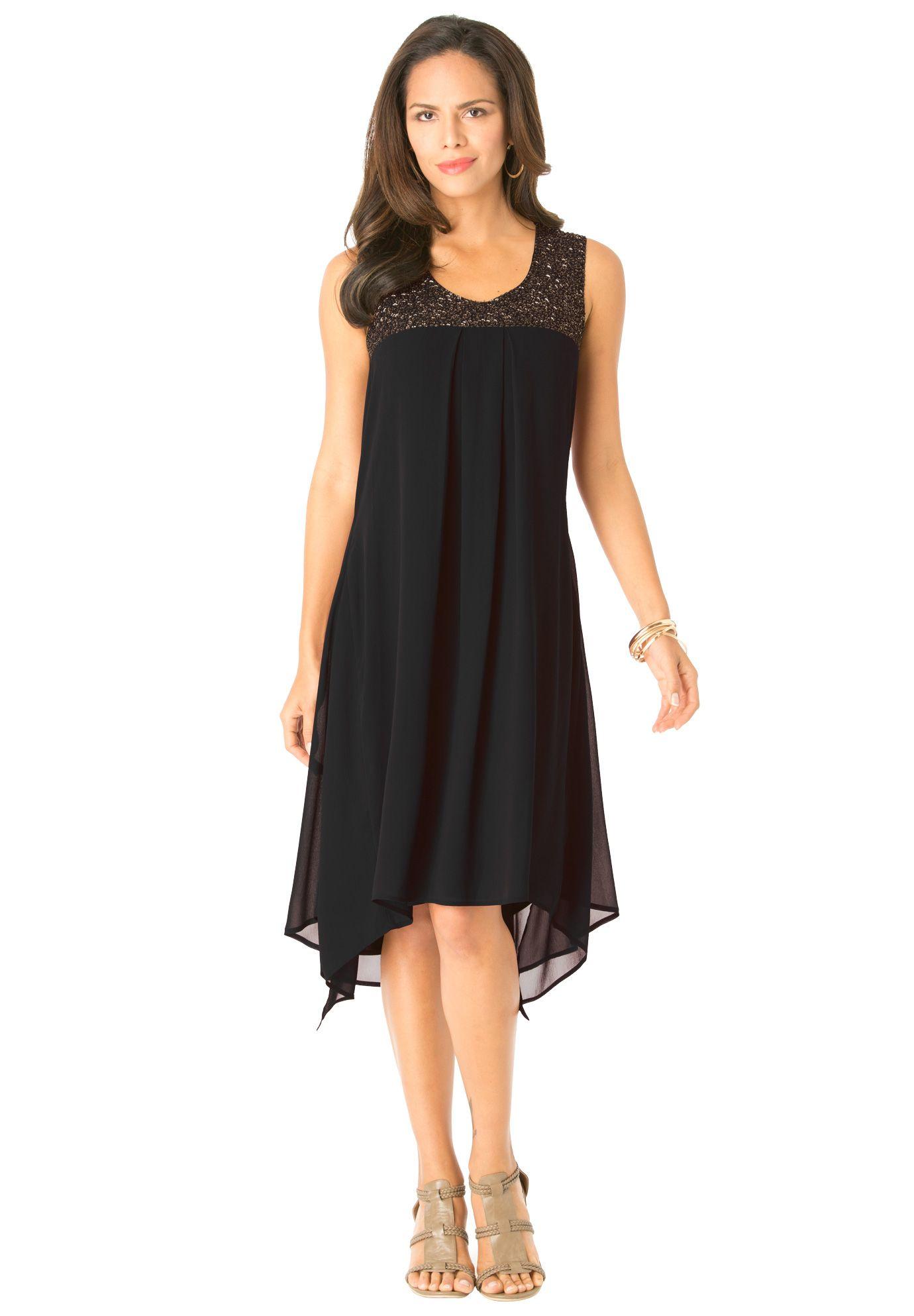 Beaded Hankie Hem Dress by Denim 24/7 | Plus Size Dresses and ...