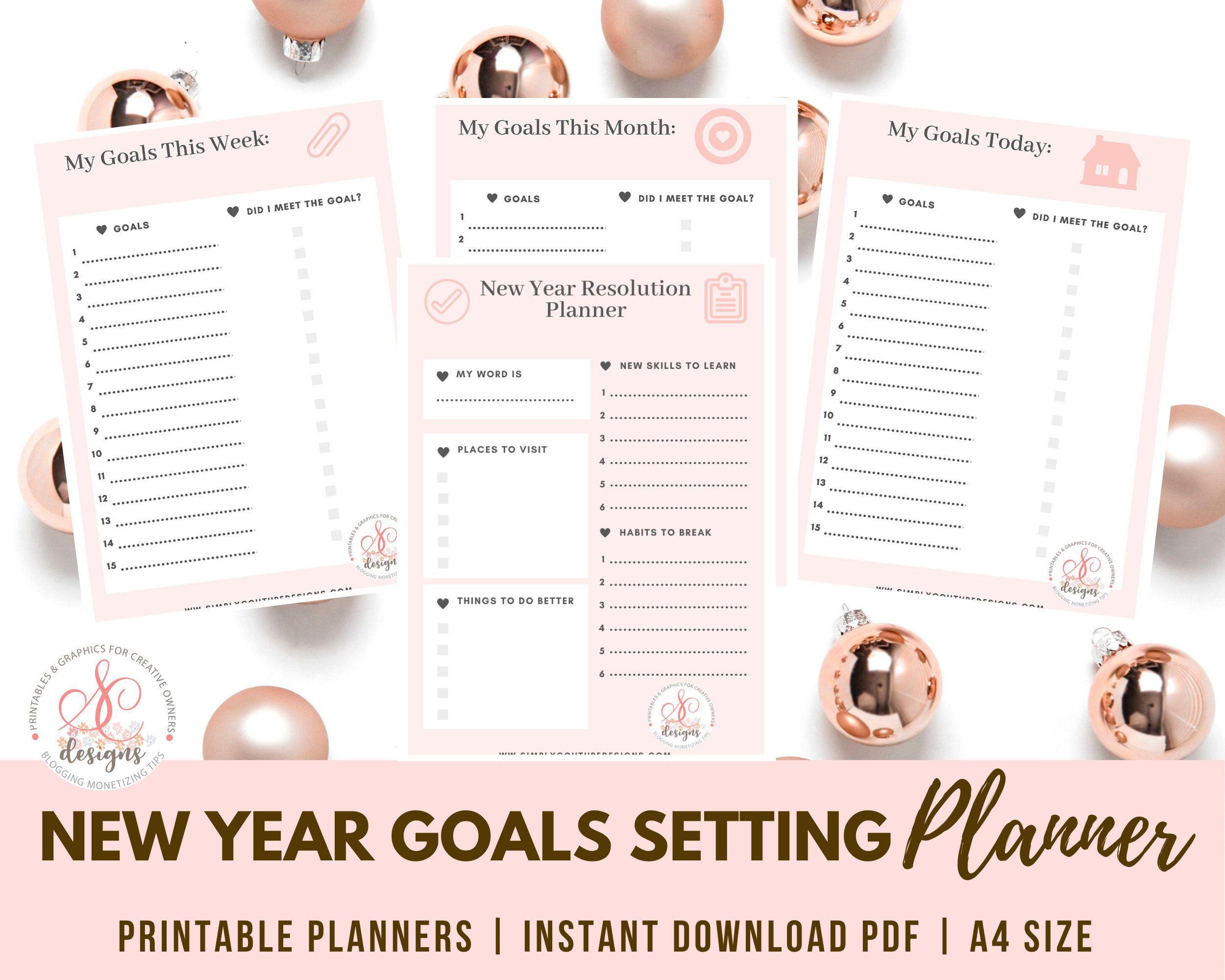 2020 2021 Yearly Goal Planner Printable Calendar Planner Etsy Goal Planner Printable Planner Calendar Printables Goals Planner