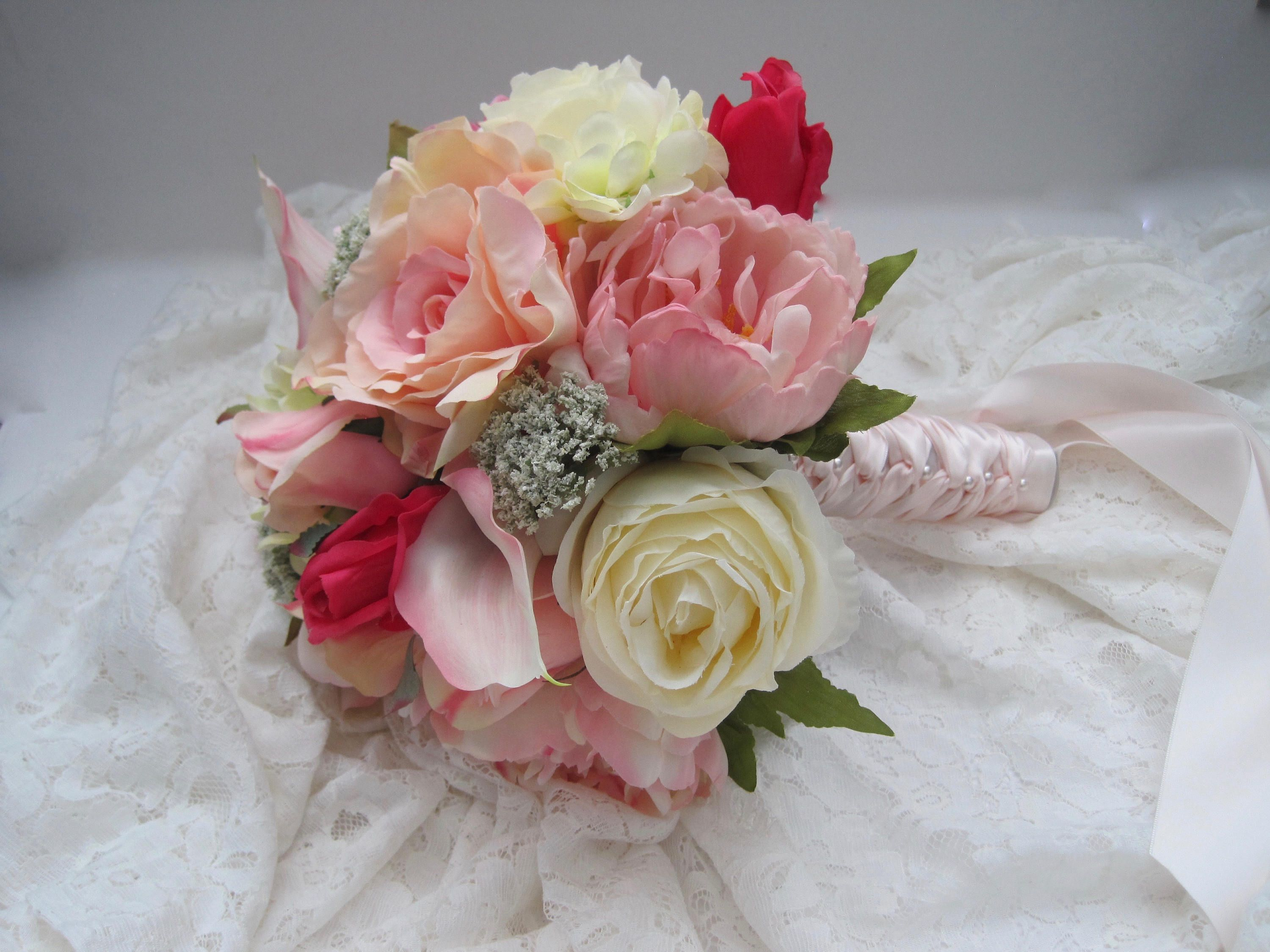 Stunning Mixed Flower Bridal Bouquet Hydrangea Peonies Roses Lilies French Knotted With Pearl Accented Handle Ready To Ship Wedding Bouquets