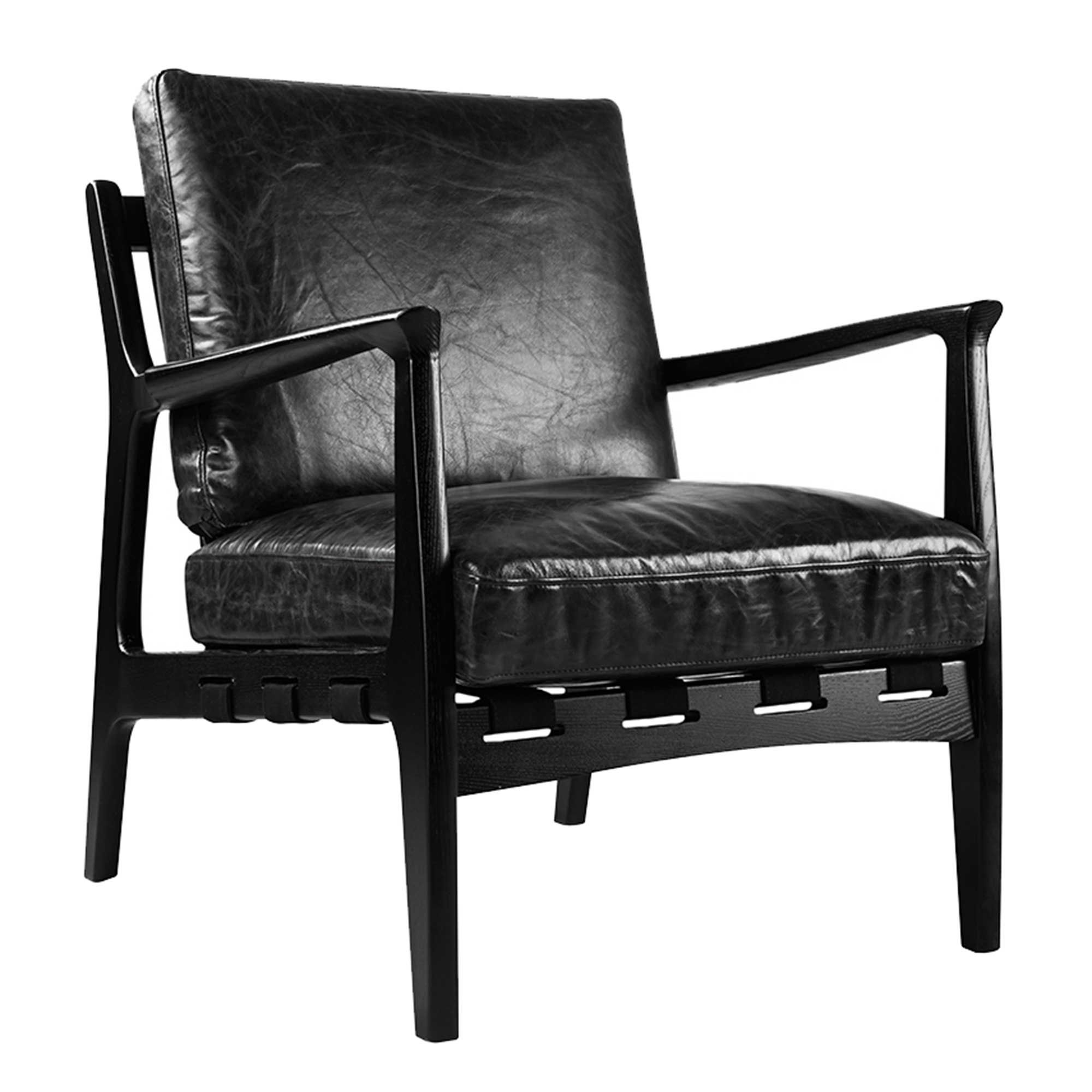 Ezra Armchair Black Leather Chairs Living Room Leather