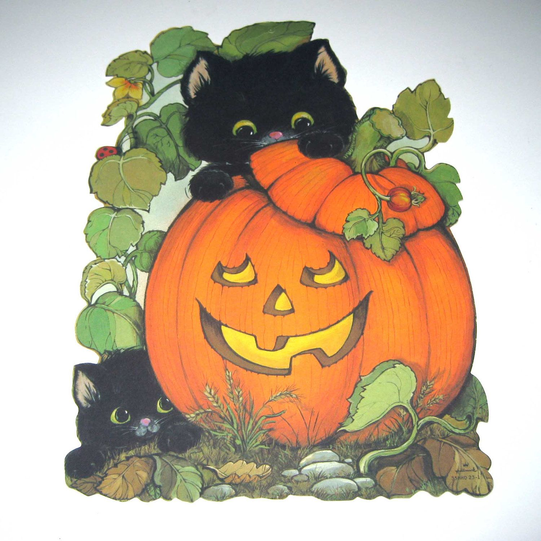 hallmark halloween die cut decoration black cat pumpkin from - Hallmark Halloween Decorations