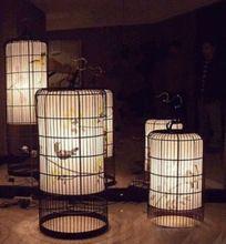Lamparas luminaria de suspensi n de hierro forjado jaula - Lamparas estilo japones ...
