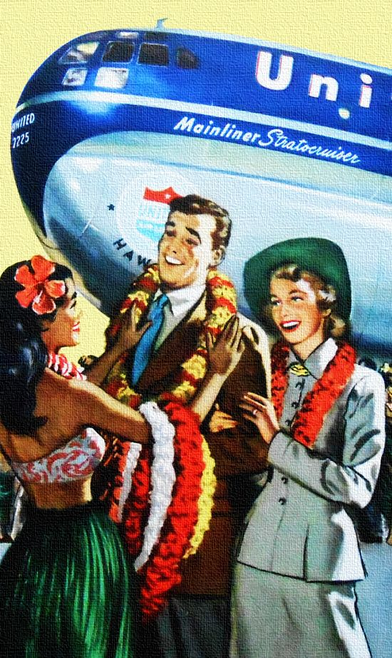 """Vintage United Airlines /""""Hawaii/"""" Travel Poster 1950/'s"""