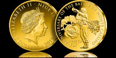 Zlota Moneta Upamietniajaca 75 Rocznice Bitwy O Monte Cassino Gold Coins Coins Gold