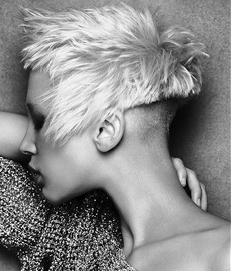 short blonde straight coloured choppy spikey shaved-back ...