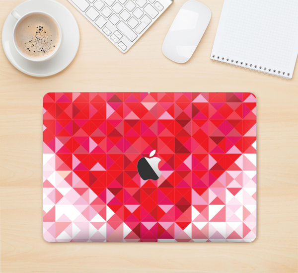 "The Geometric Faded Red Heart Skin Kit for the 12"" Apple MacBook"
