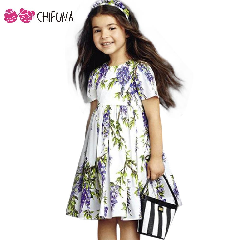 buy here new summer girls dresses purple lilac pattern