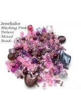 Blushing Pink Deluxe 80 Grams (400+) Glass & Metal Beads Mix Including Rare Lampwork, Pearls, Seed, + Mixed Metal Beads Medley