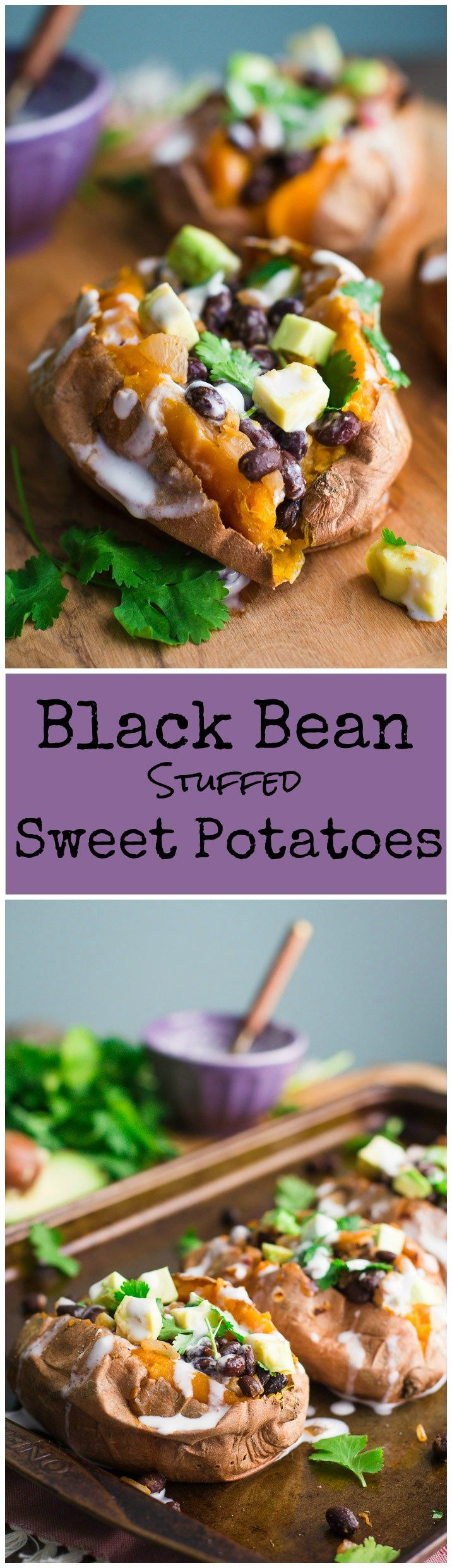 Black Bean Stuffed Sweet Potatoes- this recipe is VEGAN, GLUTEN-FREE, and very easy to make. Makes for a filling and healthy dinner!