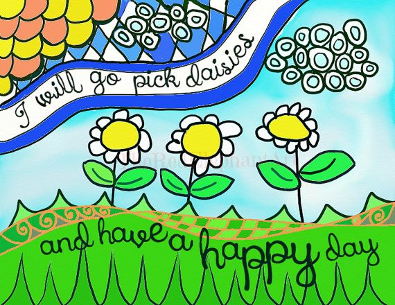 Happy Day DIGITAL DOWNLOAD Zentangle daisies by TheRedElephantArt
