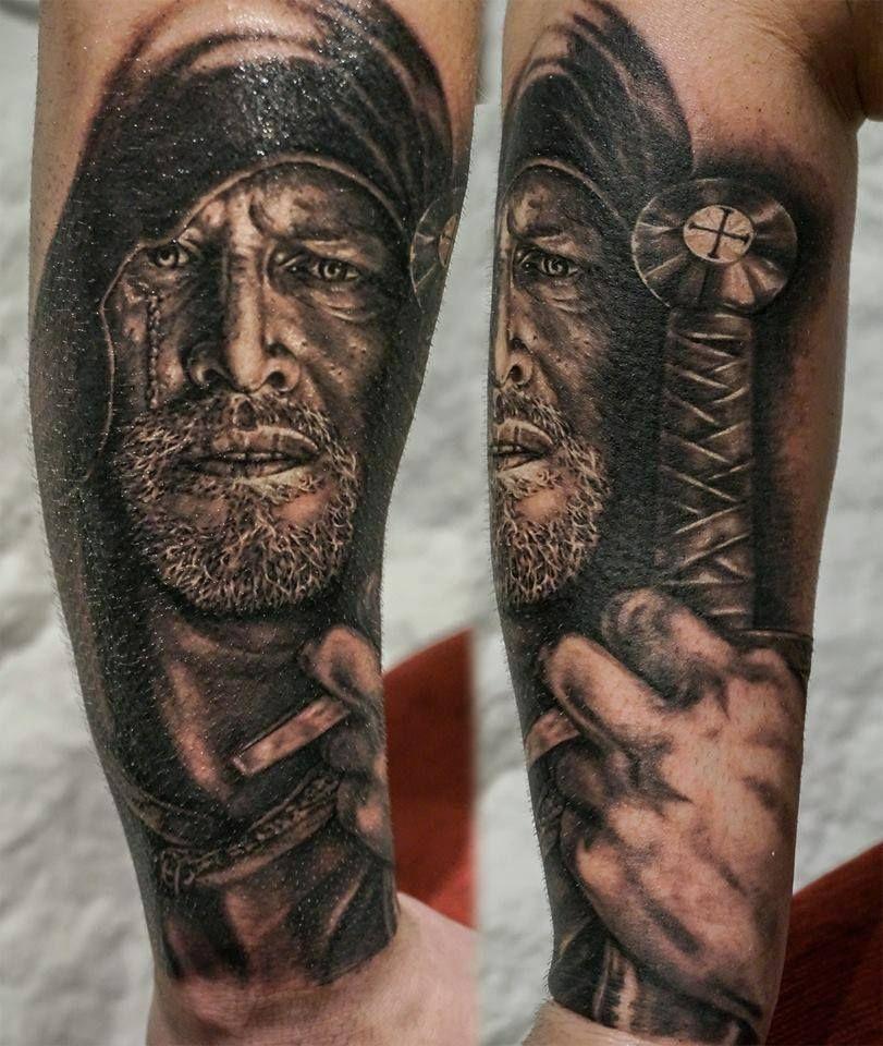 Realism portrait warrior tattoo by Alex StockholmInk Tattoo Studio