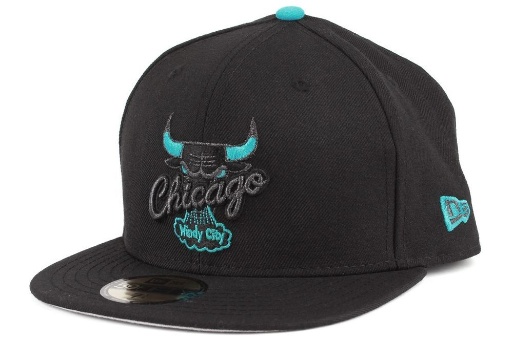 half off ffdda b9e71 New Era 5950 Custom NBA Team Chicago Bulls Mens Black Vice Blue Fitted Caps  Hats