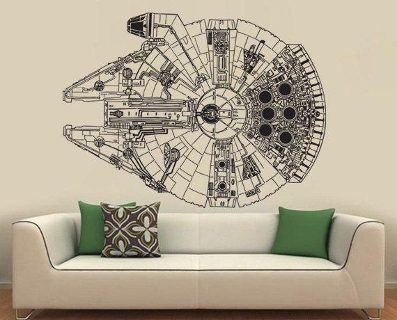 Star Wars Millennium Falcon V 3 Vinyl Wall Art Decal Wd 299 59 99 Via Etsy Star Wars Baby Room Vinyl Wall Art Decal Wall Art