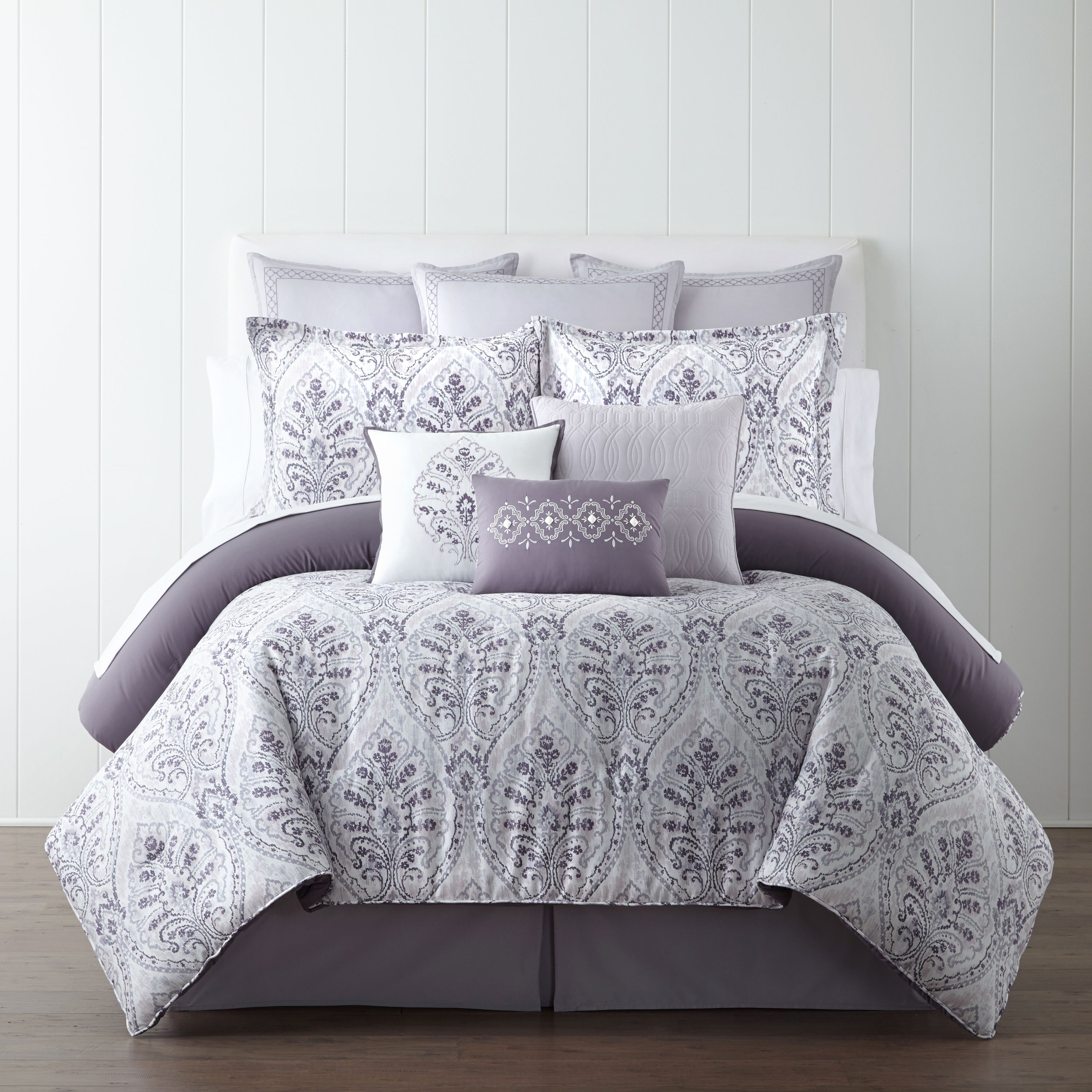 With a sophisticated palette and beautiful damask design, this comforter set will bring warmth and sophistication to your bedroom.