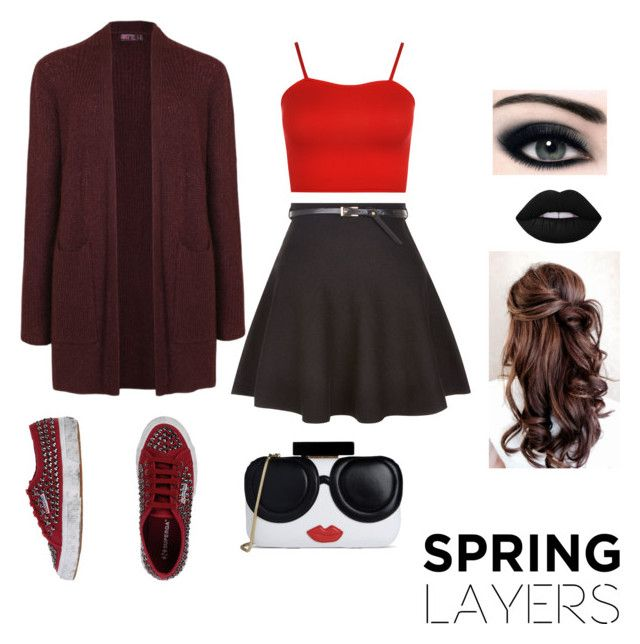"""""""Spring outfit"""" by nerdydesidesigner ❤ liked on Polyvore featuring WearAll, New Look, Ally Fashion, Superga, Lime Crime, Alice + Olivia, cutecardigan and springlayers"""