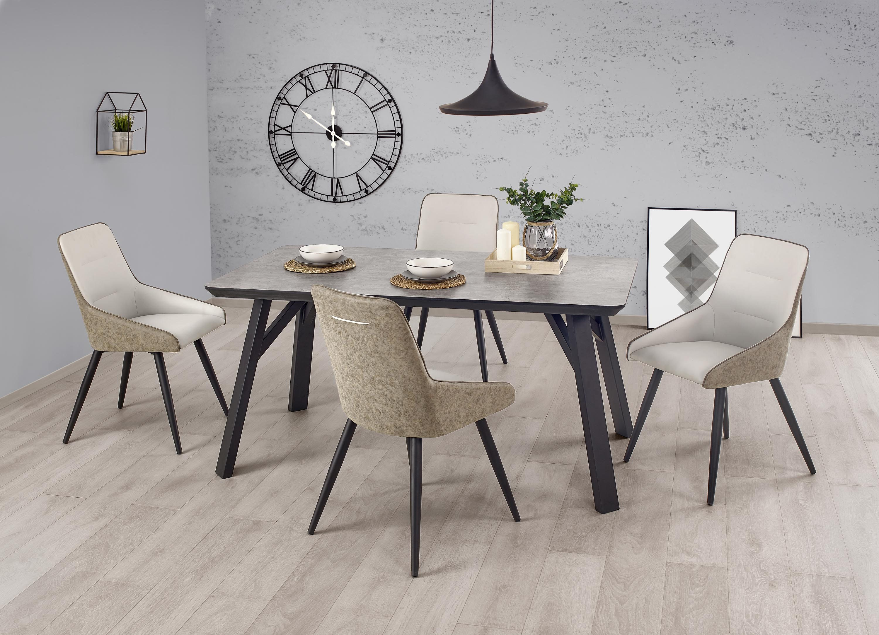 Halifax Vintage Industrial Grey Concrete Effect And Black Metal Dining Table Grey Metal Chairs Metal Dining Table Dining Table Dining Furniture Sets