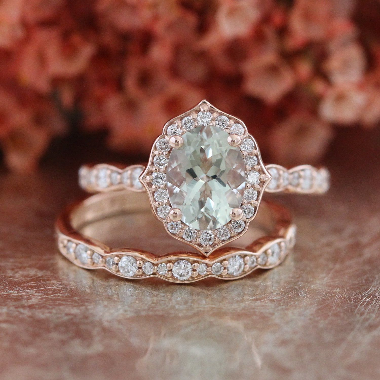 Bridal set vintage floral amethyst engagement ring and