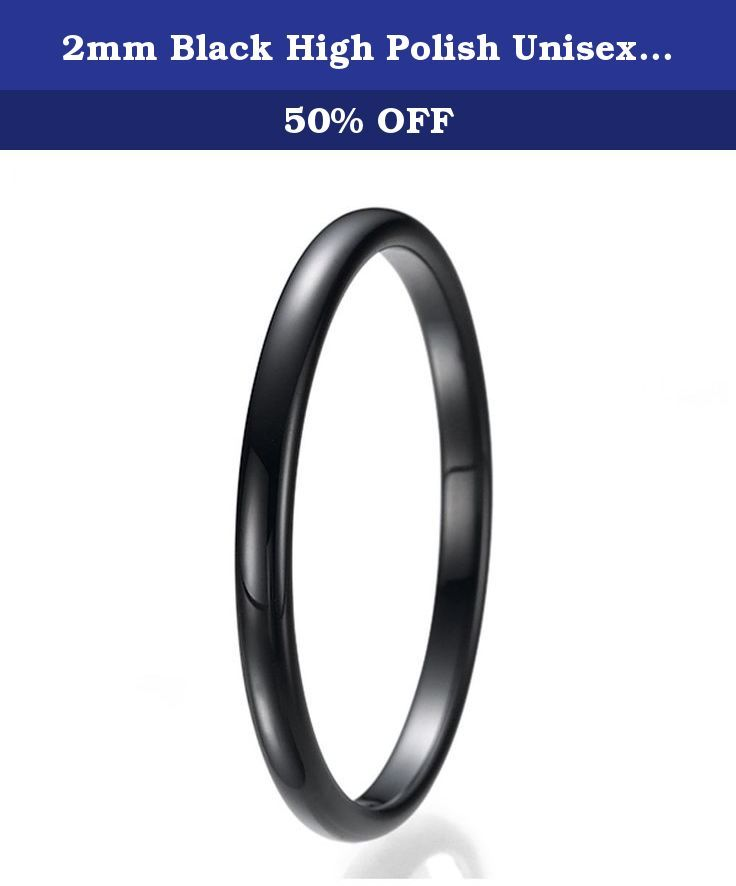 2mm Black High Polish Unisex Tungsten Wedding Ring Sizes 9 to 13. This beautiful tungsten ring is 2MM in width and comfort fit. If you are looking for a ring that is scratch proof and forever keep its shine, than our Tungsten rings are for you. All of our Tungsten rings are Cobalt Free and hypoallergenic. All rings come with a 100% 30 Day Money Back Guarantee.