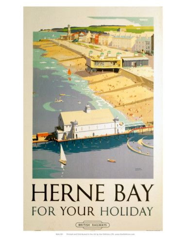 A vintage poster advertising Herne Bay for holidays.  Herne Bay for your Holiday, BR (SR), c.1948