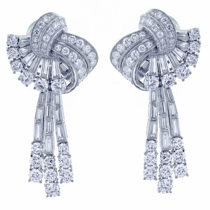 The Designer Fancy Diamond Earrings Studded With Round Diamonds, Tappers & Baguettes. An Exclusive Piece From Kuberz Diamondz, Hyderabad.