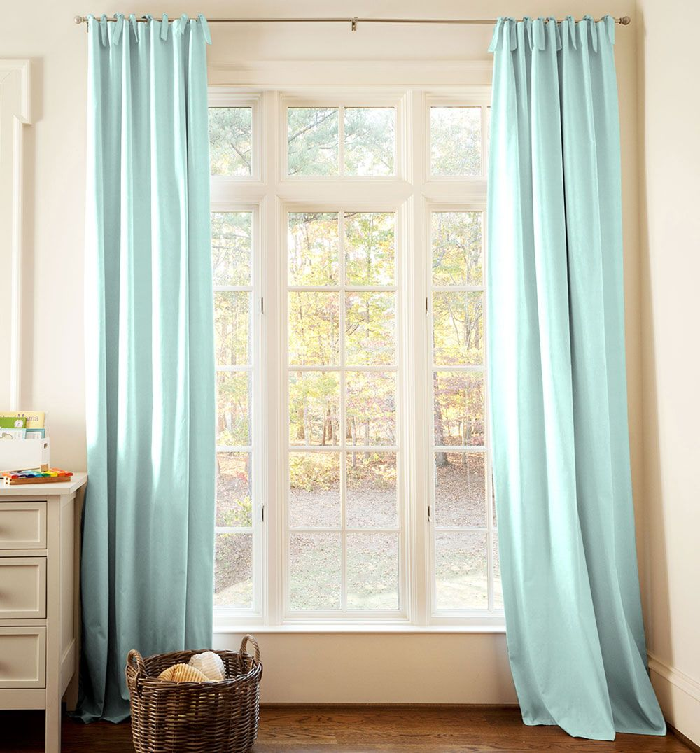 Solid Seafoam Aqua Drape Panel #carouseldesigns - Go High and Wide for Curtains in Nursery