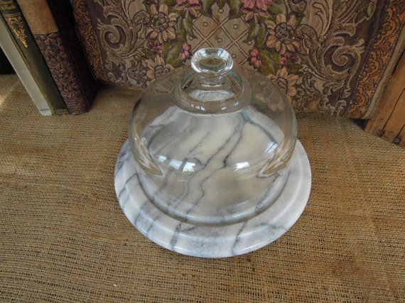 Marble Cheese Plate With Gl Dome By Tinatreasuretrinkets