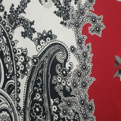 Black, Red and White Paisley Design Printed Silk  Prints Silk is a natural protein fiber, some forms of which can be woven into textiles. #hautecouture #silk #printed #fabric #fabricstore #coralgables #shopping #onlineshopping #fabrics #women #womensfashion #fashion #fashionfabrics