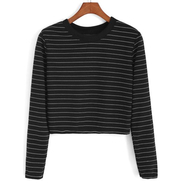 Romwe Round Neck Striped Crop Black Sweatshirt (17 CAD) ❤ liked on Polyvore featuring tops, hoodies, sweatshirts, black, sweatshirt pullover, black top, black sweat shirt, striped crop top and crop top