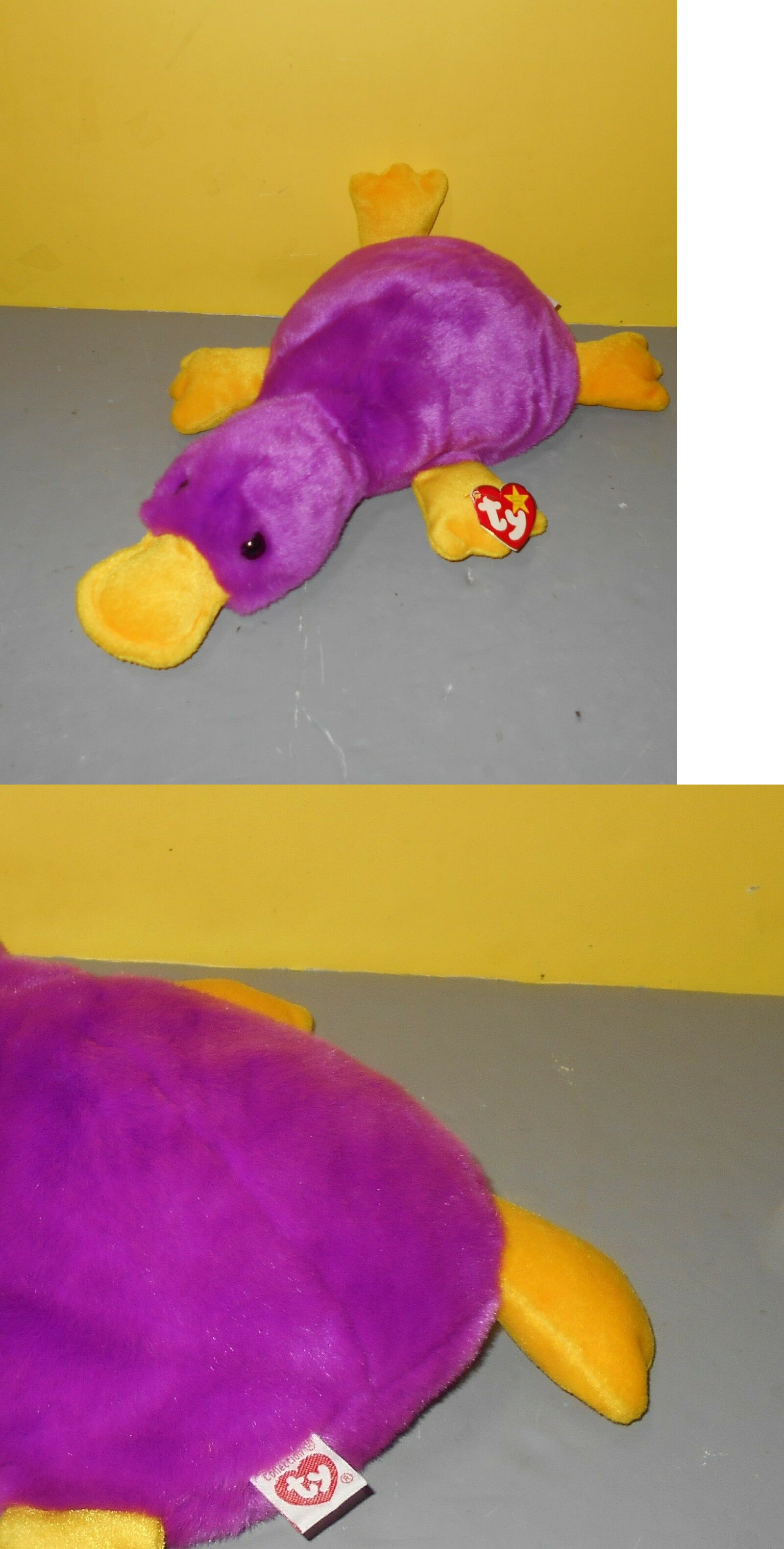 e9e2eb588a7 Retired 19207  Ty Patti Original 1998 Beanie Buddies 14 Platypus Purple And  Yellow Bean Plush