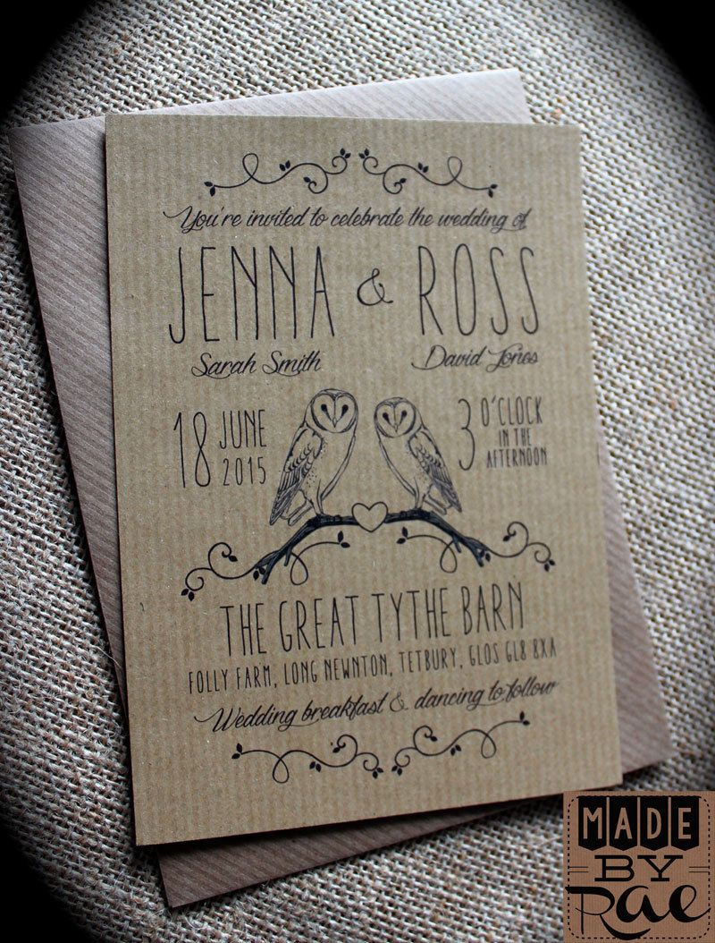 Barn Owl Vintage Rustic Wedding Invitations Eco Kraft Craft Full Stationery Collection To Match Suitable For Harry Potter Fans: Brown Rustic Wedding Invitations At Reisefeber.org